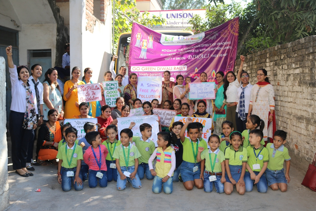 Rally by Parents Encouraging Green Diwali